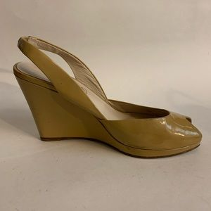 Michael Kors tan leather peeptoe wedge 7.5M